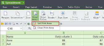 how to set print areas and print titles on a worksheet kingsoft