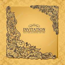 Invitation Card Background Design Abstract Background With Antique Luxury Gold Vintage Frame