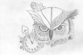 owl and pocket watch tattoos sketch photo 3 photo pictures
