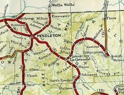 map of oregon oregon of state la grande to pendleton