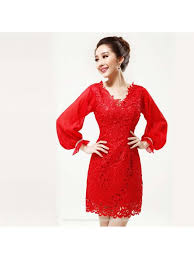 long sleeves v neck red lace chinese style modern short bridal