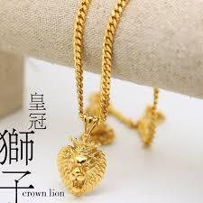 gold pendant long necklace images 100 gold plate dcrown lion pendants high quality fashion hiphop jpg