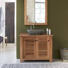 teak bathroom furniture coline solo vanity cabinet tikamoon
