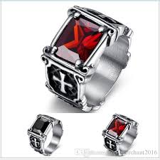 black ruby rings images Jewelry mens stainless steel gothic iron cross finger ring with jpg