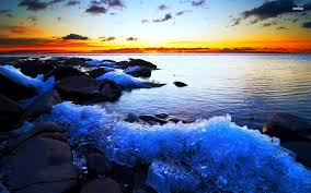 rocky shore wallpapers golden sunset over the icy rocky shore walldevil