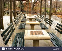 A Row Of Chess Board Tables In Central Park New York City Stock