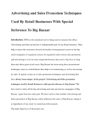 Advertising Research Paper Advertising And Sales Promotion Techniques Used By Retail