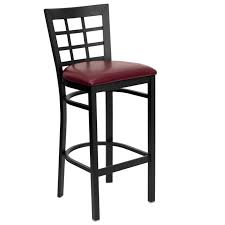Leather Swivel Bar Stool Furniture Black Iron Bar Stools With Back And Red Vinyl Seat With