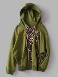 oversized lace up hoodie army green sweatshirts m zaful