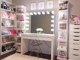 i want a vanity for all my makeup i like the light up mirror and the shoe rack next to it