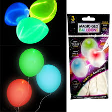 glow in the balloons pack of 3 magic glow balloons led bulb party kids 7 colour