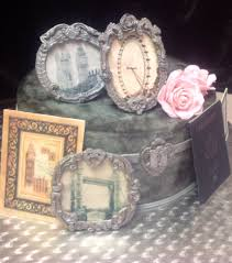 25th birthday chocolate cake with fondant photo frames wafer paper
