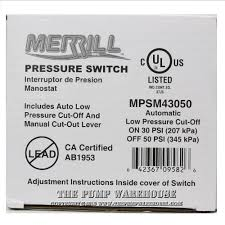 50 psi water pump merrill well pump pressure switch with low cut off 30 50