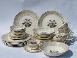 sweet violets vintage floral china dishes set for 6 w serving pieces