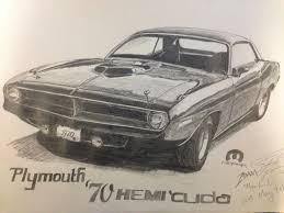 classic cars drawings 1970 plymouth hemi u0027cuda drawing by moparhead on deviantart