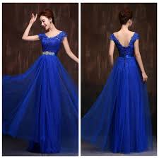 2015 long chiffon bridesmaid dresses sapphire blue high waist