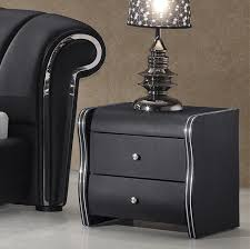veronica 2 drawer black faux leather bedside cabinet home