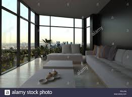 modern narrow minimalist living room interior in evening light
