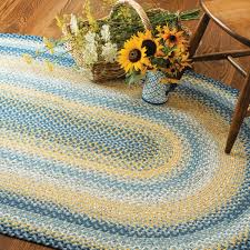 sunflowers blue gold cotton braided rugs