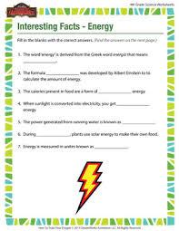 interesting facts u2013 energy u2013 4th grade science worksheets u2013