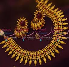 kerala earrings nl9229 matte gold plated kerala design kemp necklace jhumka