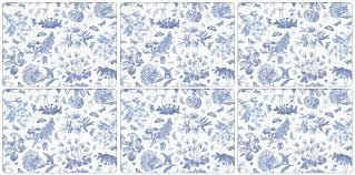 portmeirion botanic blue placemats set of 6 amazon co uk