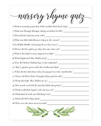 nursery rhyme baby shower nursery rhyme quiz printable for gender neutral baby shower