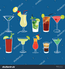 martini beach alcohol cocktail drinks vector isolated set stock vector 203459545