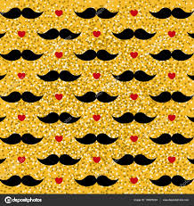 mustache wrapping paper s day pattern with hearts and black mustache on gold