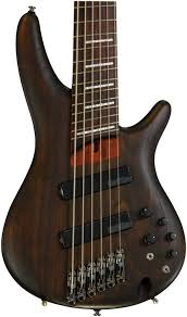 fanned fret 6 string bass ibanez bass workshop srff806 multi scale walnut flat sweetwater