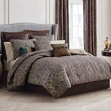 Designer Comforter Sets Elegant Patterned Comforter King Bed Set And Gray Leather Wingback