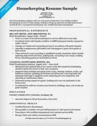Resume Sample For Housekeeping by Housekeeping Cover Letter Sample Resume Companion