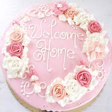what a beautiful welcome home cake adding beautiful roses dresses
