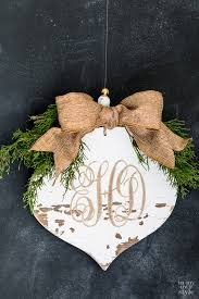 distressed carved wood monogrammed ornament in my own style