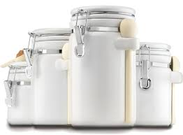 white porcelain kitchen canisters placing white kitchen