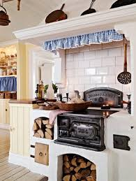 interior rustic old scandinavian kitchen with classic stove