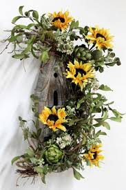 293 best wreaths sunflowers images on pinterest sunflower rustic door decor w sunflowers and bird house