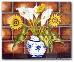 Kitchen Tile Murals Tile Art Backsplashes by Mexican Tile Lomeli Callalily U0026 Sunflower 3 30 Pcs Mural