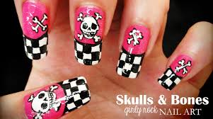 skulls u0026 bones girly rock nail art youtube