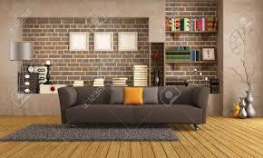 Vintage Livingroom Brown Sofa In A Vintage Living Room Rendering Stock Photo
