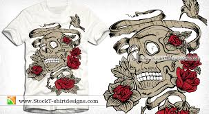 vintage vector design with skull and flowers vector t