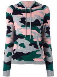 chinti and parker camouflage intarsia hoodie forest green multi