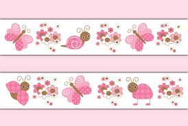 Butterfly Ladybug Wallpaper Border Wall Decals Pink Girl Sticker - Wall borders for kids rooms