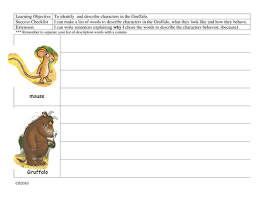 character study for u0027the gruffalo u0027 by worktop04 teaching