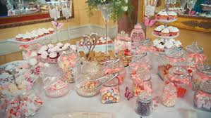 Candy Table For Wedding Delicious Decorated Candy Bar Sweets On Tables For Wedding