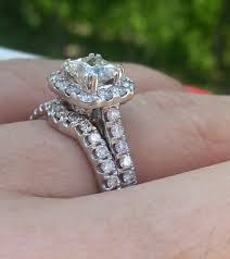 neil engagement pics of neil 1 5 ct halo engagement ring on 4 5 size finger