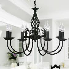 Chandelier Metal Black Fixture 8 Light Wrought Iron Material Chandeliers 27 5 Diameter