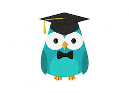 graduation owl graduate owl bow tie machine embroidery design