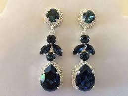 Gunmetal Chandelier Earrings Swarovski Crystal Dark Blue Star Tear Drop Earrings Gunmetal