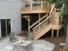 Backyard Steps Ideas Deck Stair Railing The Stairway For This Second Story Deck Was